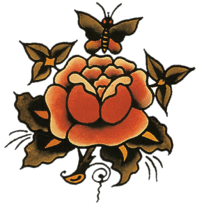 Red rose tattoo flash by sailor jerry